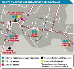 Localisation des PAV à St Gervais en 2016