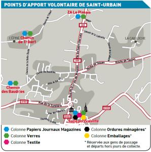 Localisation des PAV à St Urbain en 2016