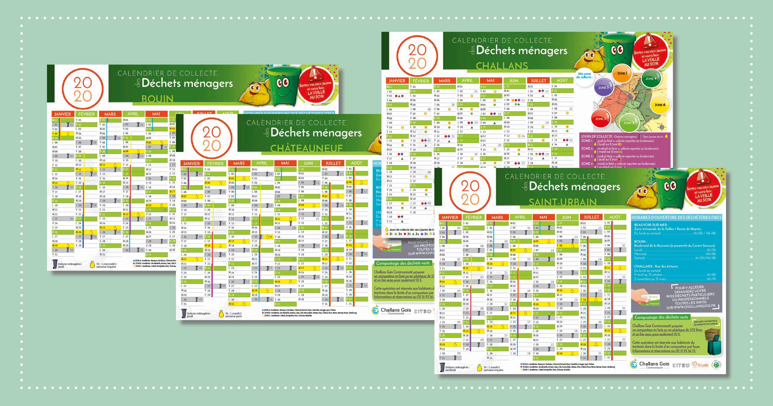 Le calendrier de collecte des déchets